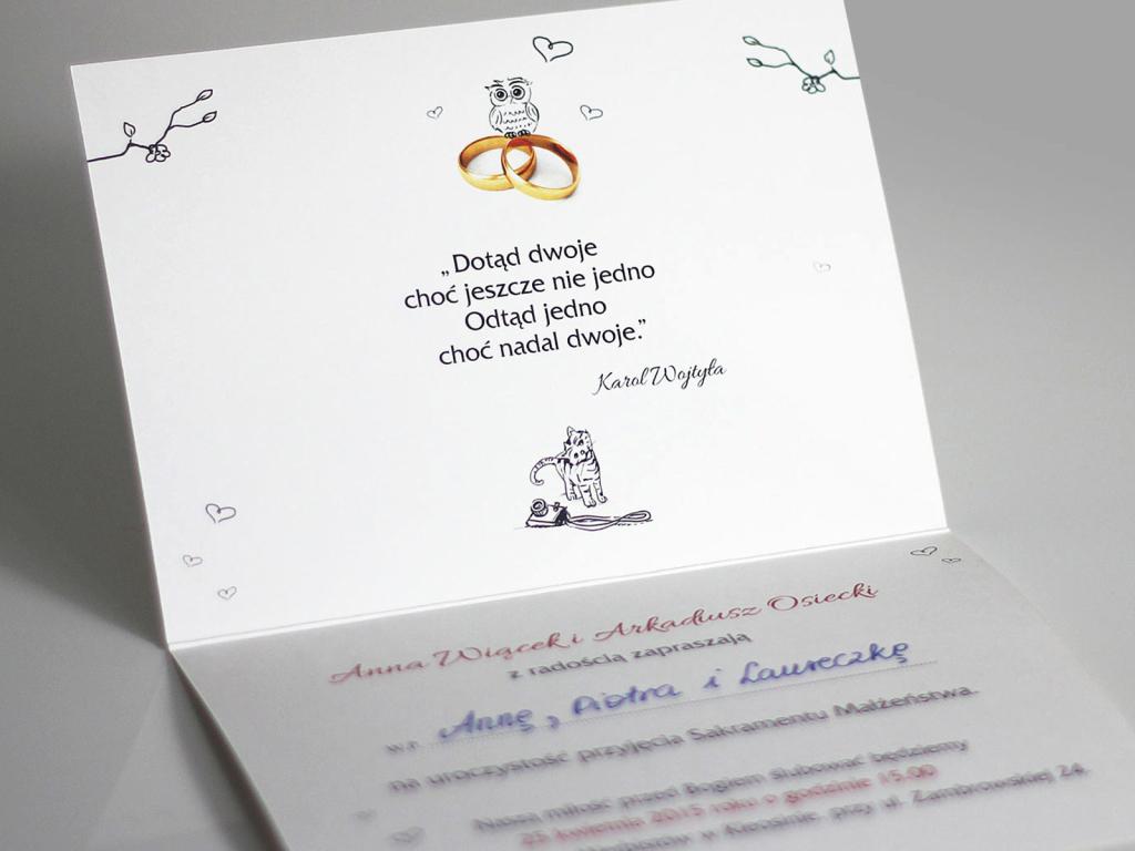 Oryginalne, rysunkowe zaproszenia ślubne