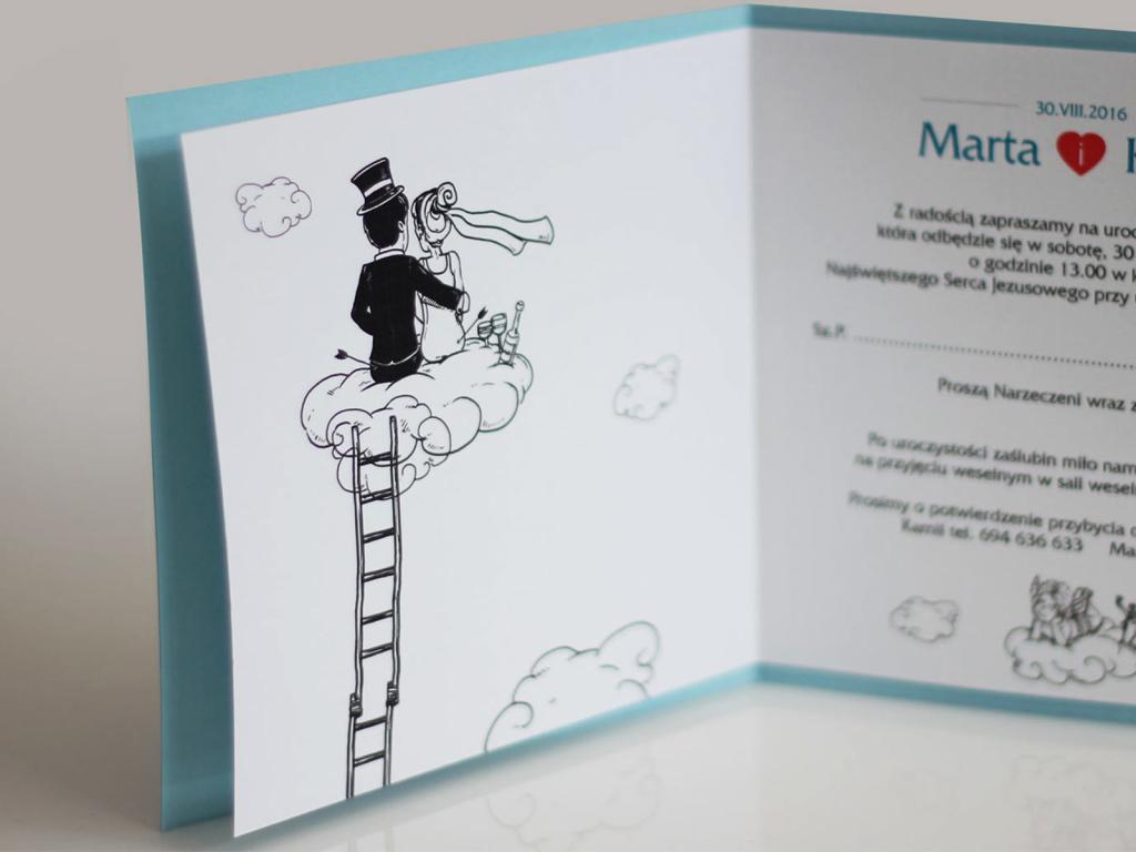 Zaproszenia ślubne rysunkowe