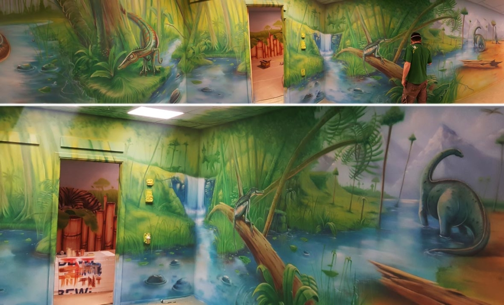 zabawadinozaury, sala zabaw, dzieci, malunek