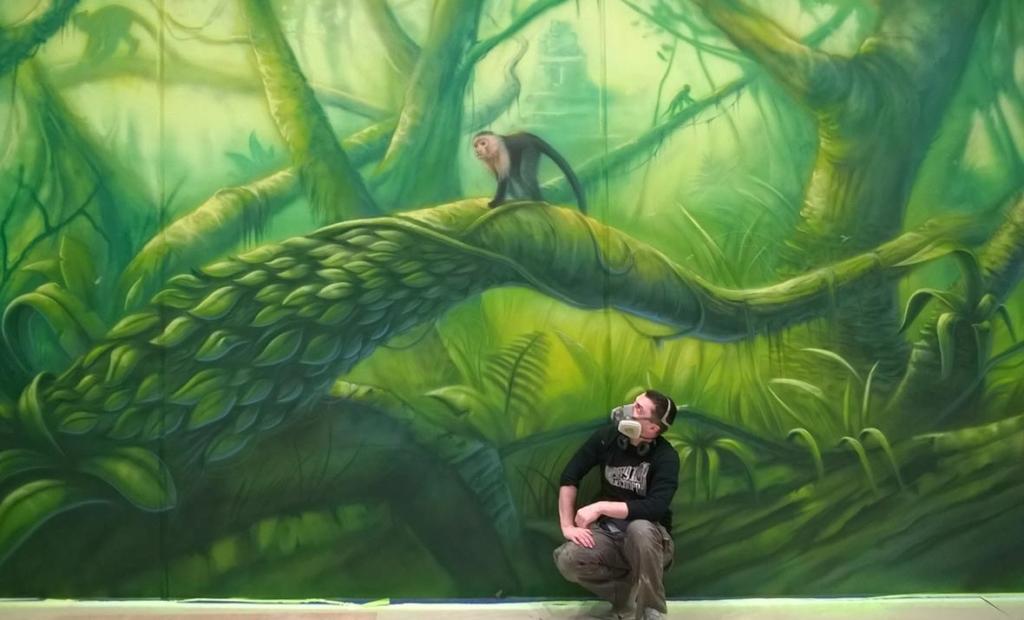 malarstwo ścienne dżungli